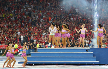 KYIV, UKRAINE - MAY 26, 2018: Superstar Dua Lipa's spectacular performance during the 2018 UEFA Champions League final opening ceremony presented by Pepsi at NSC Olimpiyskiy Stadium in Kyiv