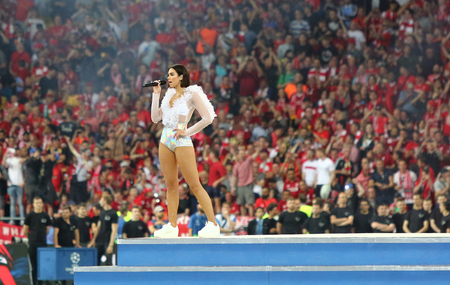 KYIV, UKRAINE - MAY 26, 2018: Dua Lipa performs on stage during the 2018 UEFA Champions League final opening ceremony presented by Pepsi at NSC Olimpiyskiy Stadium in Kyiv