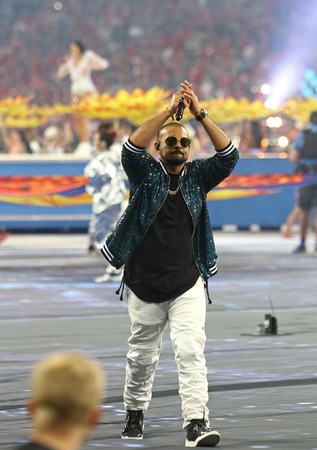 KYIV, UKRAINE - MAY 26, 2018: Repper Sean Paul performs on stage during the 2018 UEFA Champions League final opening ceremony presented by Pepsi at NSC Olimpiyskiy Stadium in Kyiv Editorial