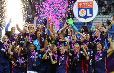 KYIV, UKRAINE - MAY 24, 2018: Olympique Lyonnais players celebrate their winning of the UEFA Women's Champions League Final 2018 after the game against VFL Wolfsburg at Valeriy Lobanovskiy Stadium