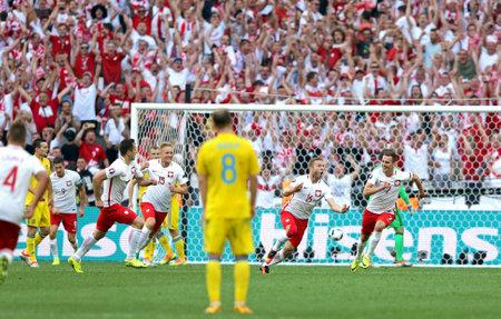 MARSEILLE, FRANCE - JUNE 21, 2016: Jakub Blaszczykowski of Poland (#16) reacts after scored a goal during UEFA EURO 2016 game against Ukraine at Stade Velodrome in Marseille, France. Poland won 1-0 Editorial