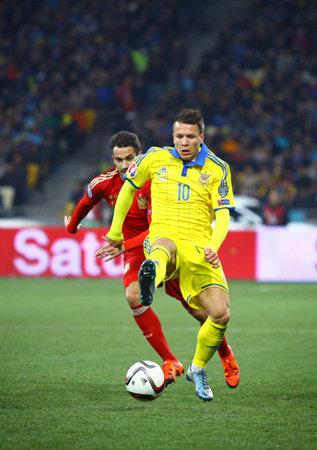 KYIV, UKRAINE - OCTOBER 12, 2015: Yevhen Konoplyanka of Ukraine attacks during the UEFA EURO 2016 Qualifying game against Spain at NSK Olimpiyskyi stadium in Kyiv Editorial