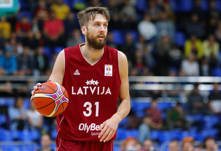 KYIV, UKRAINE - JULY 1, 2018: Zanis Peiners of Latvia in action during the FIBA World Cup China 2019 European Qualifiers game Ukraine v Latvia at Palace of Sports in Kyiv. Latvia won 93-71