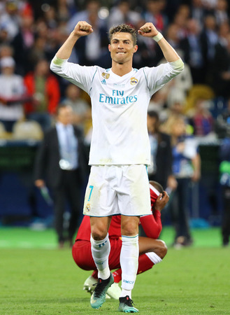 KYIV, UKRAINE - MAY 26, 2018: Cristiano Ronaldo of Real Madrid reacts after win the UEFA Champions League Final 2018 game against Liverpool at NSC Olimpiyskiy Stadium in Kyiv. Real Madrid won 3-1