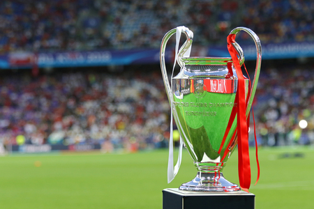 KYIV, UKRAINE - MAY 26, 2018: UEFA Champions Laegue Trophy (Cup) presents before the final game between Real Madrid and Liverpool NSC Olimpiyskiy Stadium in Kyiv, Ukraine. Real Madrid won 3-1