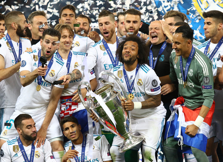 KYIV, UKRAINE - MAY 26, 2018: Real Madrid players celebrate their winning of the UEFA Champions League 2018 after the final game against Liverpool at NSC Olimpiyskiy Stadium in Kyiv, Ukraine