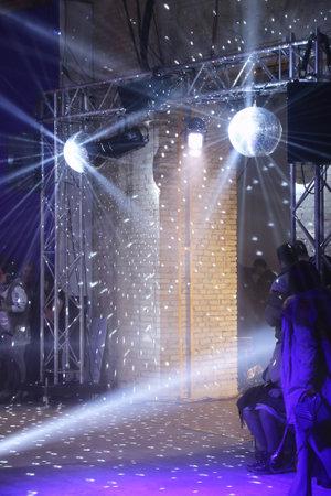 KYIV, UKRAINE - FEBRUARY 3, 2018: Decoration details of catwalk at Mystetskyi Arsenal during the fashion presentation as part of 42nd Ukrainian Fashion Week in Kyiv, Ukraine