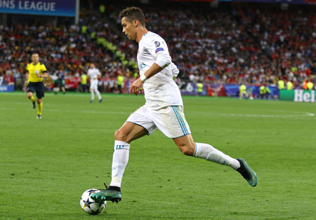 KYIV, UKRAINE - MAY 26, 2018: Cristiano Ronaldo of Real Madrid in action during the UEFA Champions League Final 2018 game against Liverpool at NSC Olimpiyskiy Stadium in Kyiv. Real Madrid won 3-1