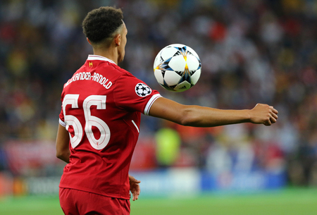 KYIV, UKRAINE - MAY 26, 2018: Trent Alexander-Arnold of Liverpool in action during the UEFA Champions League Final 2018 game against Real Madrid at NSC Olimpiyskiy Stadium in Kyiv. Liverpool lost 1-3 Editorial
