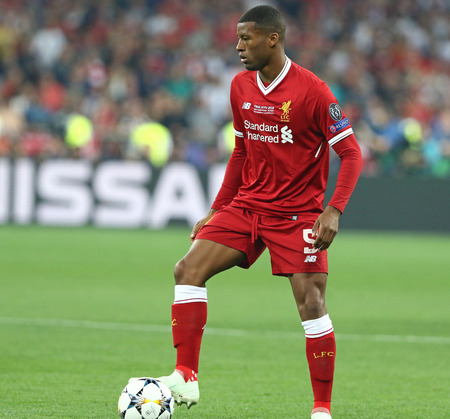 KYIV, UKRAINE - MAY 26, 2018: Georginio Wijnaldum of Liverpool in action during the UEFA Champions League Final 2018 game against Real Madrid at NSC Olimpiyskiy Stadium in Kyiv. Liverpool lost 1-3 報道画像