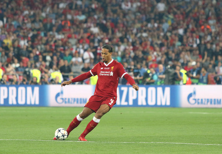KYIV, UKRAINE - MAY 26, 2018: Virgil Van Dijk of Liverpool in action during the UEFA Champions League Final 2018 game against Real Madrid at NSC Olimpiyskiy Stadium in Kyiv. Liverpool lost 1-3