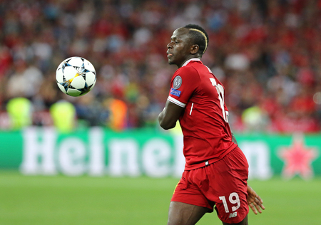 KYIV, UKRAINE - MAY 26, 2018: Sadio Mane of Liverpool in action during the UEFA Champions League Final 2018 game against Real Madrid at NSC Olimpiyskiy Stadium in Kyiv. Liverpool lost 1-3