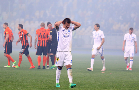 KYIV, UKRAINE - APRIL 21, 2017: Artem Besedin of Dynamo Kyiv reacts after his team lost the game of Ukrainian Premier League against Shakhtar Donetsk at NSC Olimpiyskyi stadium in Kyiv