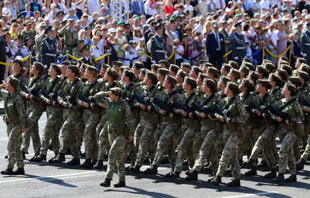 KYIV, UKRAINE - AUGUST 24, 2018: Ukrainian army soldiers take part at the military parade in Kyiv, dedicated to the Independence Day of Ukraine. Ukraine celebrates 27th anniversary of Independence Sajtókép