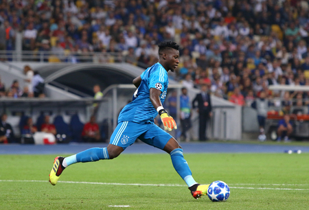 KYIV, UKRAINE - AUGUST 28, 2018: Goalkeeper Andre Onana of AFC Ajax in action during the UEFA Champions League play-off game against FC Dynamo Kyiv at NSC Olimpiyskyi stadium in Kyiv, Ukraine