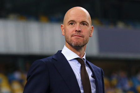 KYIV, UKRAINE - AUGUST 28, 2018: AFC Ajax manager Erik Ten Hag looks on during the UEFA Champions League play-off game against FC Dynamo Kyiv at NSC Olimpiyskyi stadium in Kyiv, Ukraine