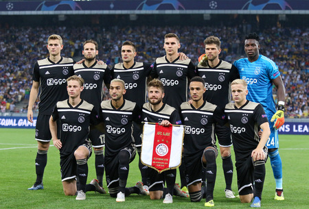 KYIV, UKRAINE - AUGUST 28, 2018: AFC Ajax players pose for a group photo before the UEFA Champions League play-off game against FC Dynamo Kyiv at NSC Olimpiyskyi stadium in Kyiv, Ukraine