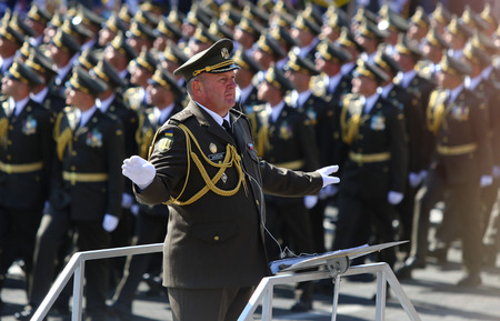 KYIV, UKRAINE - AUGUST 24, 2018: Volodymyr Dashkovsky, conductor of the Military Orchestra Service takes part at the military parade in Kyiv, dedicated to the 27th Independence Day of Ukraine Editorial