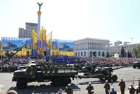 KYIV, UKRAINE - AUGUST 24, 2018: Military equipment of Armed Forces of Ukraine moves on Khreschatyk street in Kyiv city during the military parade, dedicated to the 27th Independence Day of Ukraine