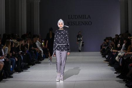 KYIV, UKRAINE - FEBRUARY 5, 2017: Model walks runway at Ludmila KISLENKO AutumnWinter 201718 presentation during 40th Ukrainian Fashion Week at Mystetskyi Arsenal in Kyiv, Ukraine Editorial