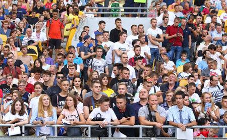 KYIV, UKRAINE - SEPTEMBER 4, 2018: Supporters watch the Open training session of Ukraine National Football Team at NSC Olimpiyskyi stadium in Kyiv, Ukraine Editorial