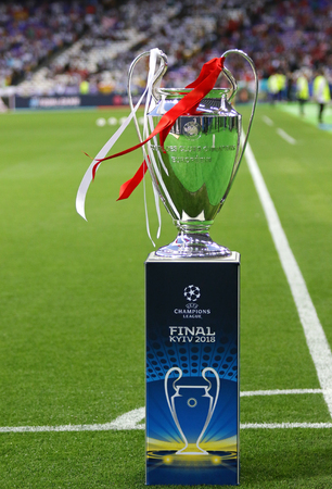KYIV, UKRAINE - MAY 26, 2018: UEFA Champions League Trophy (Cup) presents before the UCL final game Real Madrid v Liverpool at NSC Olimpiyskiy Stadium in Kyiv, Ukraine. Real Madrid won 3-1