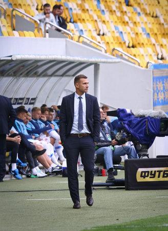 LVIV, UKRAINE - SEPTEMBER 9, 2018: Ukrainian manager Andriy Shevchenko look on during the UEFA Nations League game Ukraine v Slovakia at Arena Lviv stadium in Lviv. Ukraine won 1-0 新闻类图片