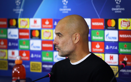 KHARKIV, UKRAINE - OCTOBER 23, 2018: Manchester City manager Josep Redakční