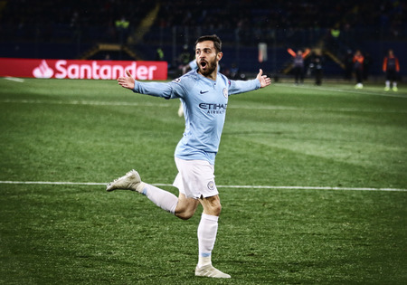 KHARKIV, UKRAINE - OCTOBER 23, 2018: Bernardo Silva of Manchester City celebrates after scored a goal during the UEFA Champions League game against Shakhtar Donetsk at OSK Metalist stadium in Kharkiv Editorial