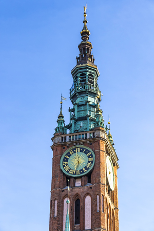 Tower of Main City Hall on Dluga street in the old city center of Gdansk, Poland. ClockTower built in 14th century