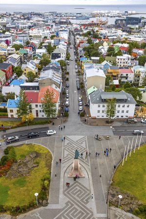 Picturesque aerial view of Reykjavik city, Iceland. Stock Photo