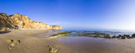 Panoramic view of Praia do Porto de Mos, long beach in Lagos, Algarve region, Portugal