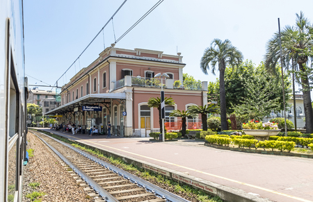 Santa Margherita Ligure, Italy - June 28, 2016: S.Margherita Ligure-Portofino railway station. Portofino is an Italian holiday resort famous for its picturesque harbour. Located in 5km from the Trenitalia train station Editorial