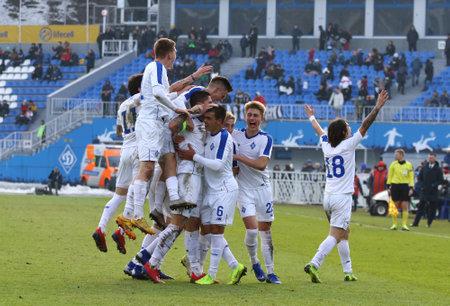 KYIV, UKRAINE - FEBRUARY 20, 2019: FC Dynamo Kyiv U19 players celebrate after scored a goal during the UEFA Youth League game against Juventus U19 at Valeriy Lobanovskiy stadium in Kyiv.Dynamo won 3-0 Sajtókép