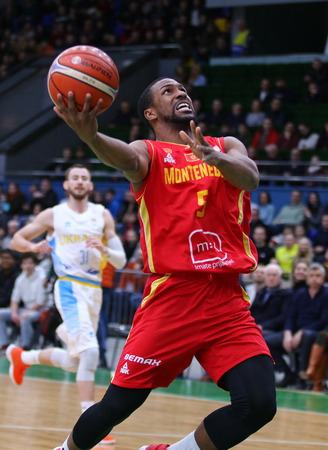 KYIV, UKRAINE - FEBRUARY 22, 2019: Derek Needham of Montenegro in action during the FIBA World Cup 2019 European Qualifiers game Ukraine v Montenegro at Palace of Sports in Kyiv. Montenegro won 76-74 Editorial