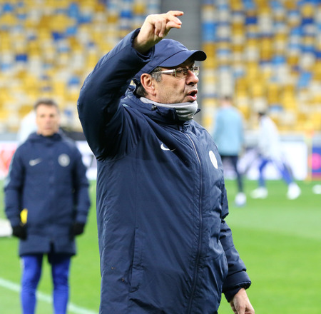 KYIV, UKRAINE - MARCH 13, 2019: Chelsea manager Maurizio Sarri in action during the training session before the UEFA Europa League game against FC Dynamo Kyiv at NSC Olimpiyskyi stadium in Kyiv