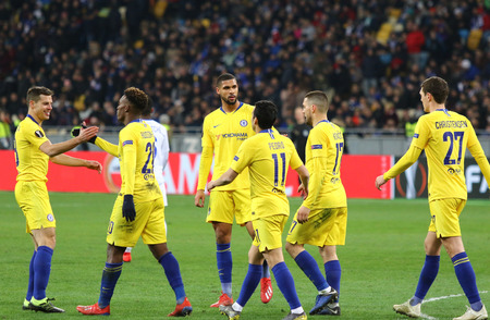 KYIV, UKRAINE - MARCH 14, 2019: Chelsea players celebrate after scored a goal during the UEFA Europa League game against FC Dynamo Kyiv at NSC Olimpiyskyi stadium in Kyiv, Ukraine. Chelsea won 5-0 Editorial