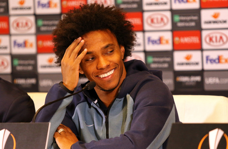 KYIV, UKRAINE - MARCH 13, 2019: Chelsea player Willian during the press-conference before the UEFA Europa League game against FC Dynamo Kyiv at NSC Olimpiyskyi stadium in Kyiv, Ukraine