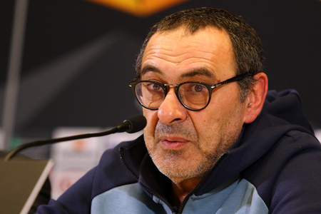 KYIV, UKRAINE - MARCH 13, 2019: Chelsea manager Maurizio Sarri attends press-conference before the UEFA Europa League game against FC Dynamo Kyiv at NSC Olimpiyskyi stadium in Kyiv, Ukraine