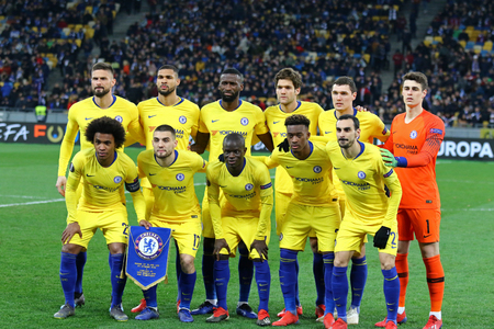 KYIV, UKRAINE - MARCH 14, 2019: Chelsea players pose for a group photo before the UEFA Europa League game against FC Dynamo Kyiv at NSC Olimpiyskyi stadium in Kyiv, Ukraine. Chelsea won 5-0