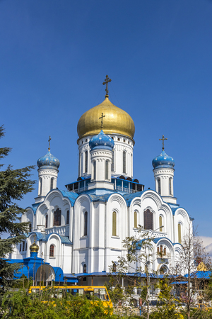 Uzhhorod Orthodox Cathedral (Cathedral of Christ the Saviour) in Uzhgorod city, Ukraine. Also know as Cyril and Methodius Cathedral. Built in 1990, belongs to Russian Orthodox Church in Ukraine