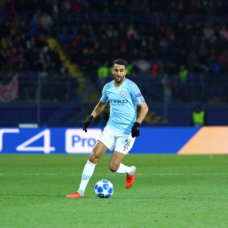 KHARKIV, UKRAINE - OCTOBER 23, 2018: Riyad Mahrez of Manchester City in action during the UEFA Champions League game against Shakhtar Donetsk at OSK Metalist stadium in Kharkiv. ManCity won 3-0