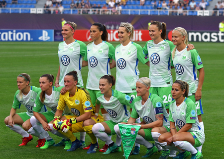 KYIV, UKRAINE - MAY 24, 2018: VFL Wolfsburg players pose for a group photo before the UEFA Womens Champions League Final 2018 game against Olympique Lyonnais at Valeriy Lobanovskiy Stadium in Kyiv