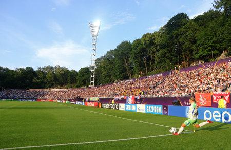 KYIV, UKRAINE - MAY 24, 2018: Lara Dickenmann of VFL Wolfsburg makes a corner kick during the UEFA Womens Champions League Final 2018 game against Olympique Lyonnais at V.Lobanovskiy Stadium in Kyiv