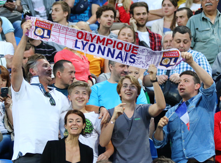 KYIV, UKRAINE - MAY 24, 2018: Olympique Lyonnais supporters show their support during the UEFA Womens Champions League Final 2018 game against VFL Wolfsburg at Valeriy Lobanovskiy Stadium in Kyiv Editorial