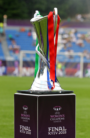KYIV, UKRAINE - MAY 26, 2018: UEFA Women's Champions League Trophy (Cup) presents before the final game between VFL Wolfsburg and Olympique Lyonnais at Valeriy Lobanovskiy Stadium in Kyiv