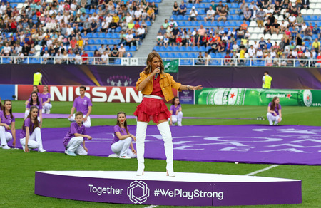 KYIV, UKRAINE - MAY 26, 2018: Ukrainian singer Tayanna performs on stage during the Opening Ceremony of UEFA Women's Champions League Final 2018 game Wolfsburg v Lyon at Lobanovskiy Stadium Editorial