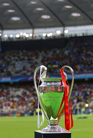 KYIV, UKRAINE - MAY 26, 2018: UEFA Champions League Trophy (Cup) presents before the final game between Real Madrid and Liverpool NSC Olimpiyskiy Stadium in Kyiv, Ukraine. Real Madrid won 3-1