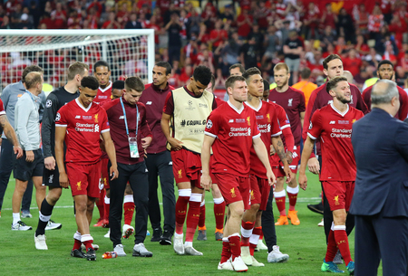 KYIV, UKRAINE - MAY 26, 2018: Liverpool players at the Medal Ceremony after the UEFA Champions League Final 2018 game agsinst Real Madrid in Kyiv. Liverpool lost 1-3