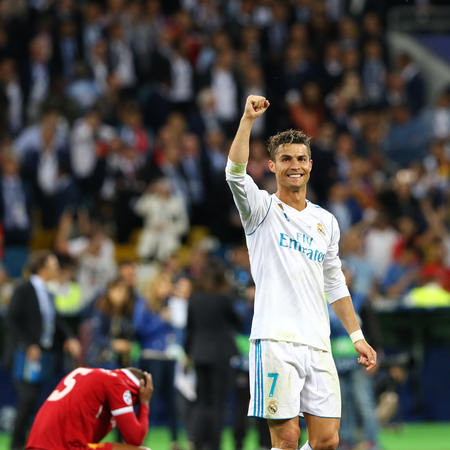 KYIV, UKRAINE - MAY 26, 2018: Cristiano Ronaldo of Real Madrid celebrates after win the UEFA Champions League Final 2018 game against Liverpool at NSC Olimpiyskiy Stadium in Kyiv. Real Madrid won 3-1